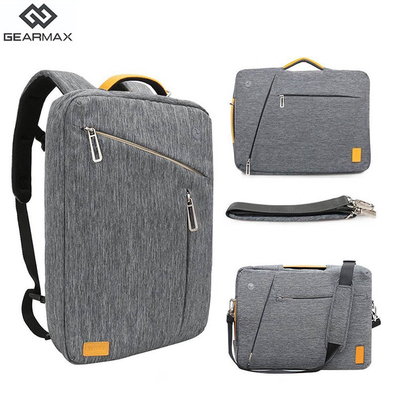 Gearmax Laptop Backpacks 15.6 17.3 Inch Blue/Gray Color Canvas Waterproof Backpack Genuine Leather Bag for Macbook Notebook Bag