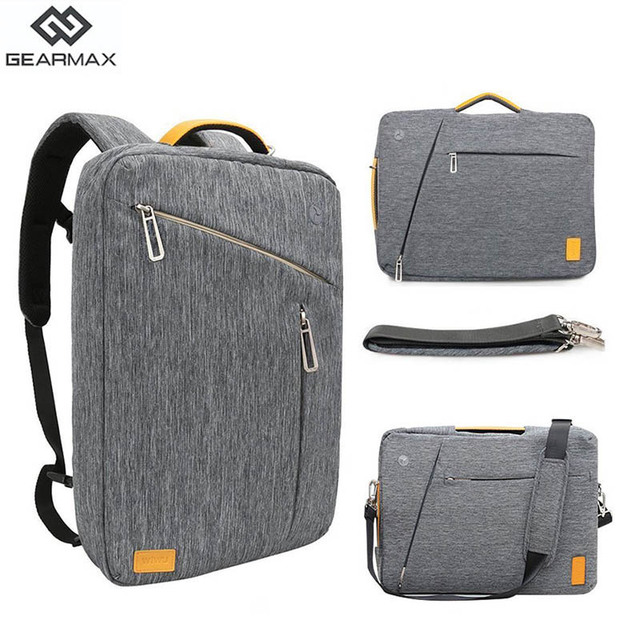 Gearmax Laptop Backpacks 15.6 17.3 Inch Blue/Gray Color Canvas Waterproof Backpack Genuine Leather Bag for Macbook Notebook Bag