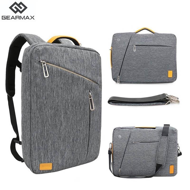 Gearmax portátil mochilas para 15,6 de 17,3 pulgadas/azul/Color gris de lona impermeable Mochila De Cuero genuino de la bolsa para Macbook portátil