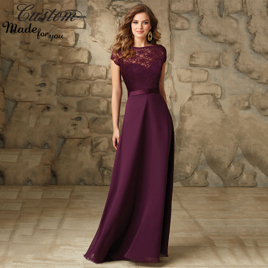 Imported wedding party dress grape chiffon floor length for Plus size wedding party dresses