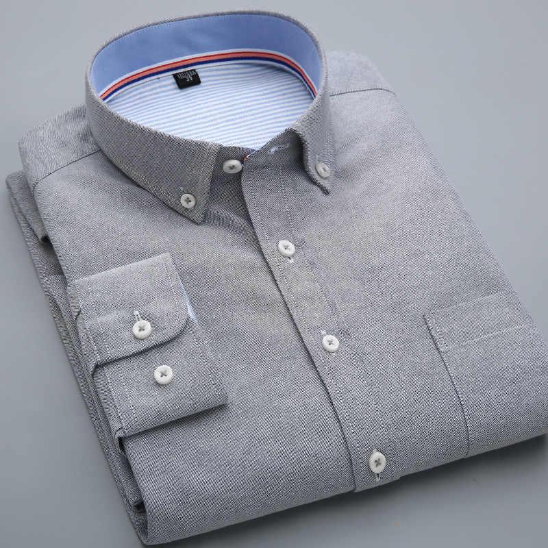 QISHA ファッションシャツ男性のためのオックスフォード長袖レッドブラックメンズドレスシャツコロル男性オフィストップスカミーサソーシャル masculina