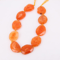 Approx 9pcs strand Orange Dragon Veins Achate Faceted Slab Loose Beads Pendant,Drilled Raw Agates Geode Stone Cut Slice Necklace