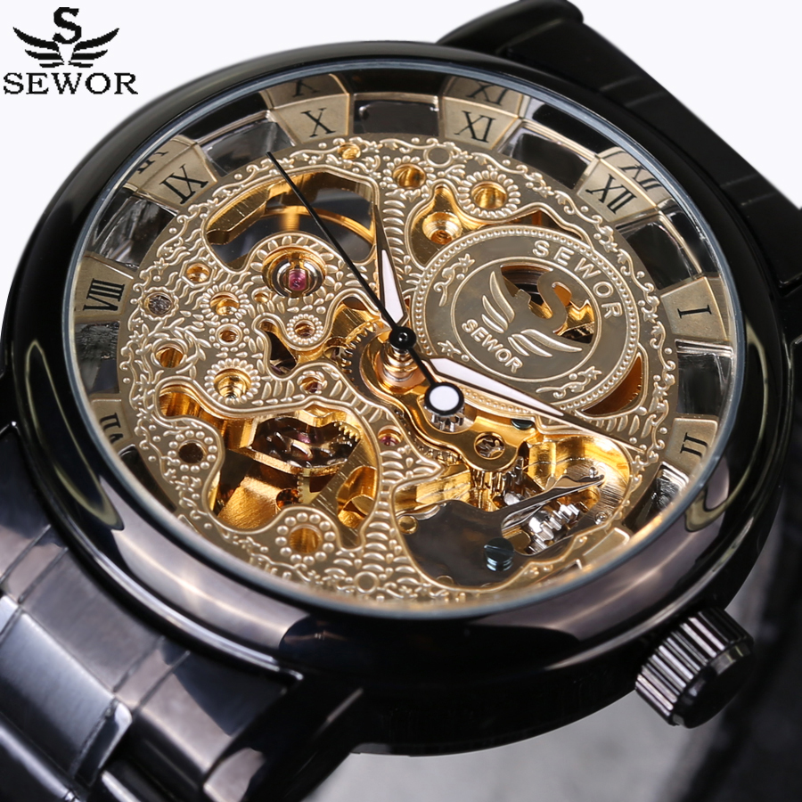 2016 New SEWOR Luxury Brand Automatic Mechanical Watches Fashion full steel Watch Military Men Business  Skeleton Wrist Watch sewor new arrival luxury brand men watches men s casual automatic mechanical watches diamonds hour stainless steel sports watch