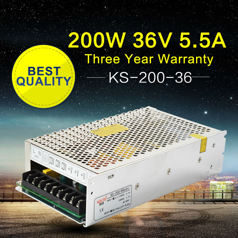 36V 200W Regulated Switching Power Supply for LED Strip Light AC to DC Power Suppliers Transformer for Monitor CCTV Camera CNC ac dc 36v ups power supply 36v 350w switch power supply transformer led driver for led strip light cctv camera webcam