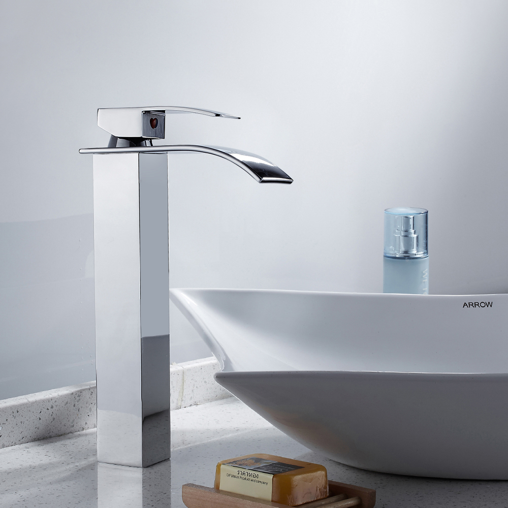Modern High Bathroom Sink Faucet Brass Wide Flowing Single Handle Single Hole Hot and Cold Mixer