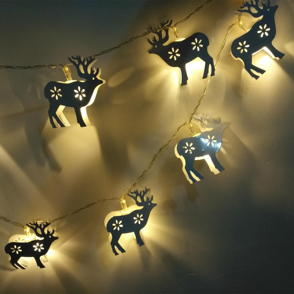 1.5M 10LED Christmas Elk String Fairy Light Indoor Home Bedroom Party Decor Lighting Lamp Battery Power Kids Gift