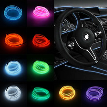 1M EL Soft Tube Strips Neon WIre For Home House Car Auto Decoration Bendable Flexible Party Events Deco Glow Rope