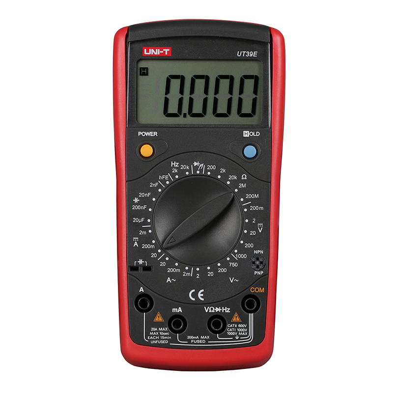 UT39E Handheld Multimeter Ammeter Ohm Volt Meter LCD Count 19999 Digital Multimeter Transistor Data Hold High