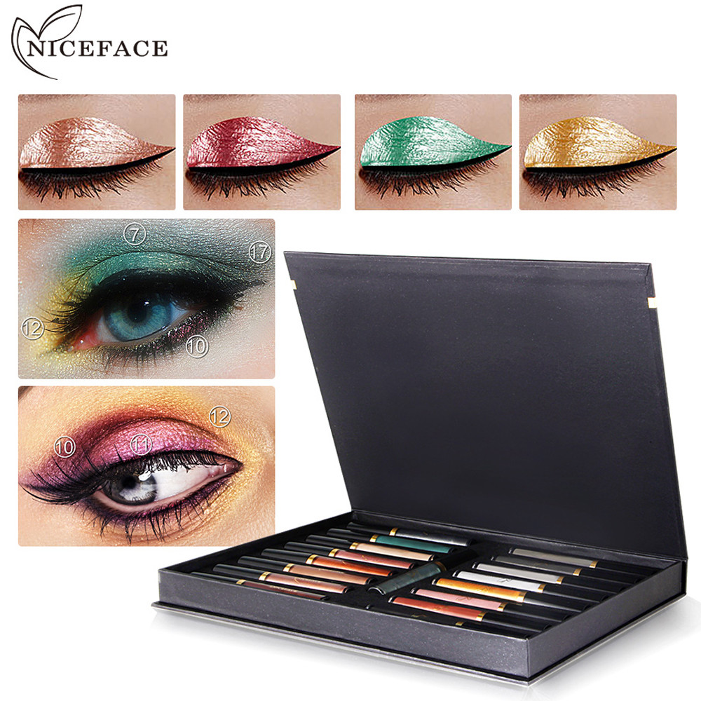 Best Deal New Fashion 17 PC Christmas Metallic Smoky Eyes Eyeshadow Waterproof Glitter Liquid Eyeliner Women Make up Tools free shipping 3 pp eyeliner liquid empty pipe pointed thin liquid eyeliner colour makeup tools lfrosted purple