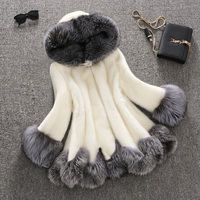 New style 2018 high quality whole skin genuine mink fur women coat with hood ,real fox fur trim real mink fur jacket