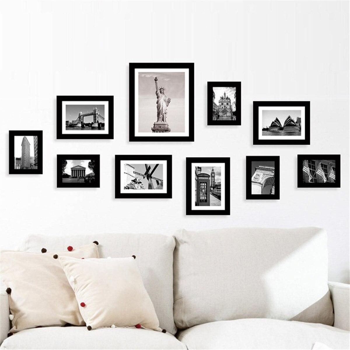 10 pièces Photo de famille Multi Photo cadre ensemble contient 10 Photos ouverture murale bricolage cadeau décoration de la maison