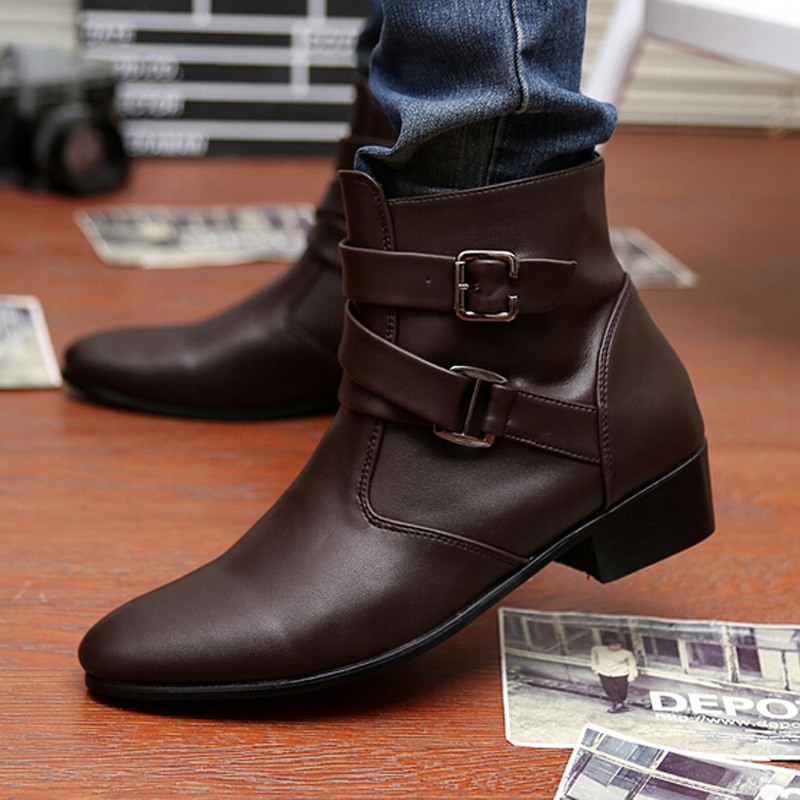 Men Casual Martin Boots 2017 Autumn And Winter New British Style High Top Fashion Boots