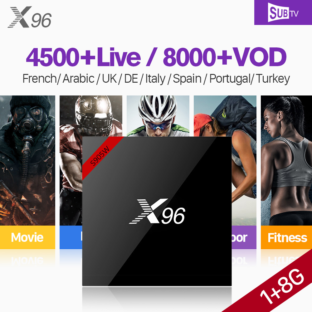 IPTV France 1 Year SUBTV Subscription X96 Smart S905W Android 7.1 IP TV Box Channels IPTV Europe Portugal Arabic France IPTV Box
