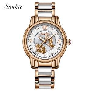 Image 2 - SUNKTA Rhinestone Rose Gold Top Brand Luxury Watches Women Sport Waterproof Watch Fashion Casual Clock Women Watch Zegarek Damsk