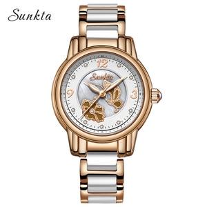 Image 2 - Sunkta 라인 석 로즈 골드 브랜드 럭셔리 시계 여성 스포츠 방수 시계 패션 캐주얼 시계 여성 시계 zegarek damsk