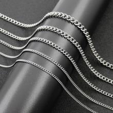 Women & Man Necklace Stainless Steel Silver O Twisted Link Chain Necklace Fahsion Jewelry 2/2.2/3/4/4.5mm*40cm-90cm(China)