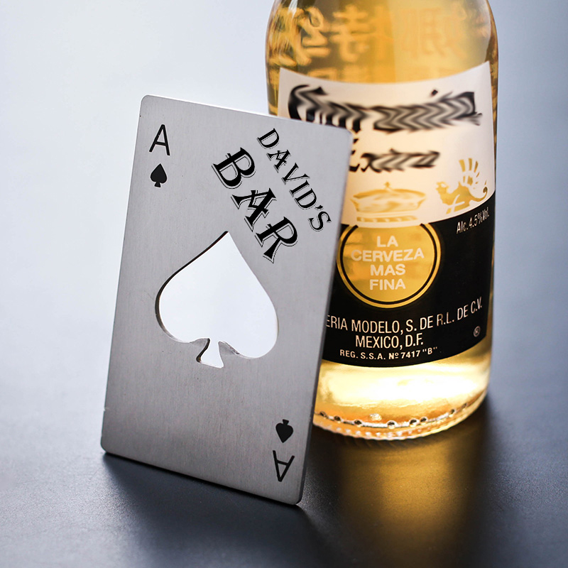 25x Personalized Beer Bottle Openers Stainless Steel Playing Card Ace of Spades Poker Bottle Opener Bar