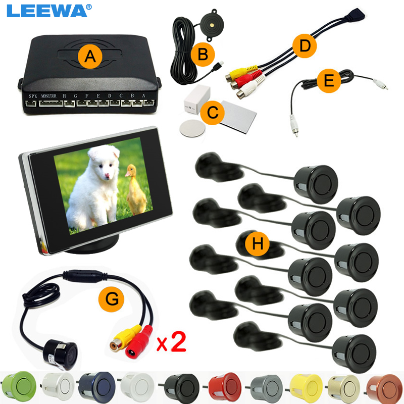 LEEWA  Car 8 Sensors Front&Rear Dual View Parking Sensor Backup Radar System +3.5 Monitor+18.5mm Camera  #CA4454 koorinwoo dual core car  parking sensors