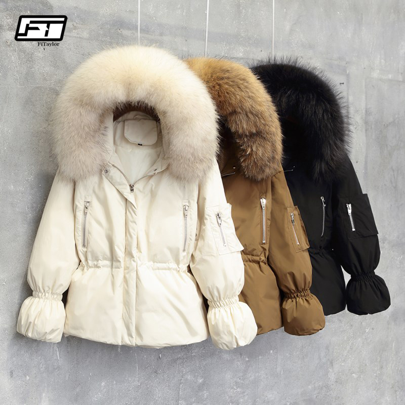 Fitaylor 2019 Women Winter Jackets White Duck Down Large Natural Raccoon Fur Hooded Parkas Slim Warm