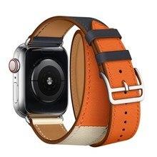 Recentes Substituição Alça Para Apple i Série Relógio 1 2 3 4 Banda 44 40 42 38mm mm mm mm Couro Loop Duplo Colorido Pulseira Inteligente