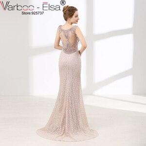 Image 2 - VARBOO_ELSA Luxury Crystal Beading Evening Dress Sexy Back Transparent Long Mermaid Prom Dress Beige Lace vestido de festa 2018