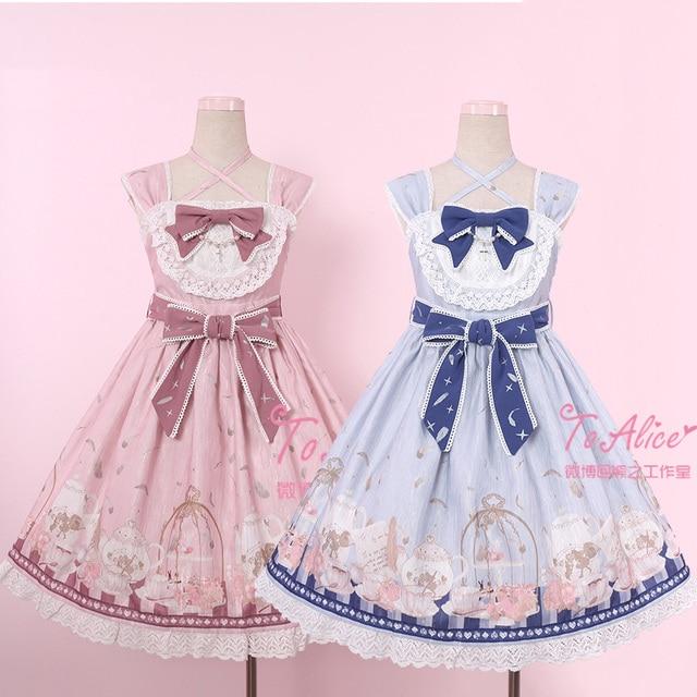 Anthony s Tea Party Cute Women s Lolita JSK Dress Summer Sleeveless Dress  Cute Bubble Bows One Piece Pink Blue Beige 1641162c0a32