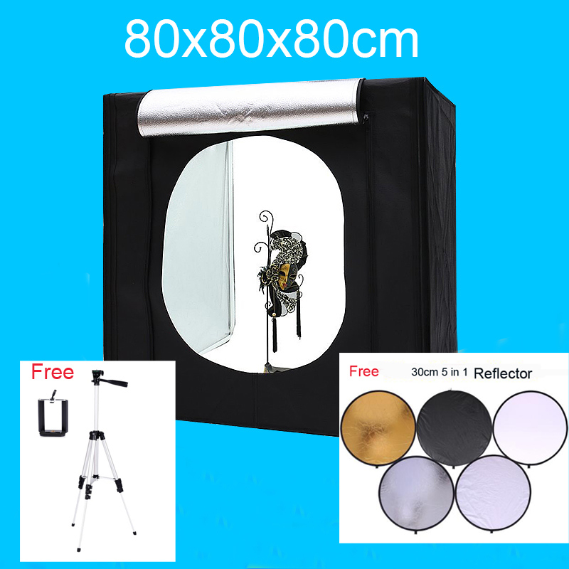 80*80*80CM Led photo Studio Lightbox Shooting Tent Softbox Kit Photography Light Box Kit With Free Gift softbox studio lighting softbox light lambed 80cm cotans round cotans photographic equipment 4 flock printing background cd50