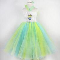 Yeni stil sarı minions karikatür kız parti prenses tül elbise bebek kız tutu elbiseler bebek kız için