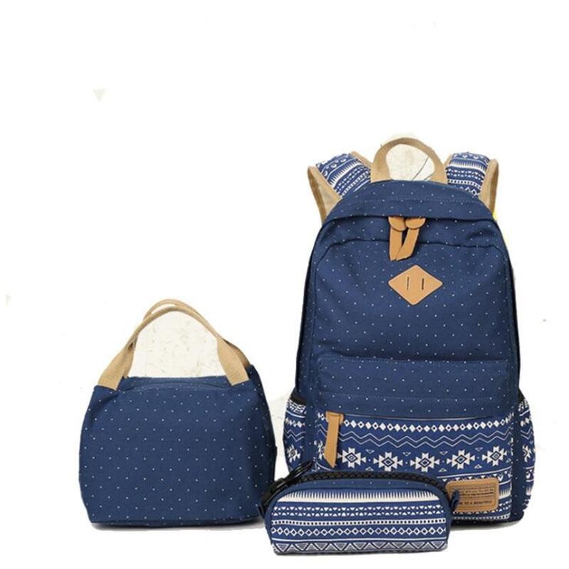 3pcs/set Fashion Casual Canvas Women Backpacks Handpacks Travel Bags Christmas Gifts