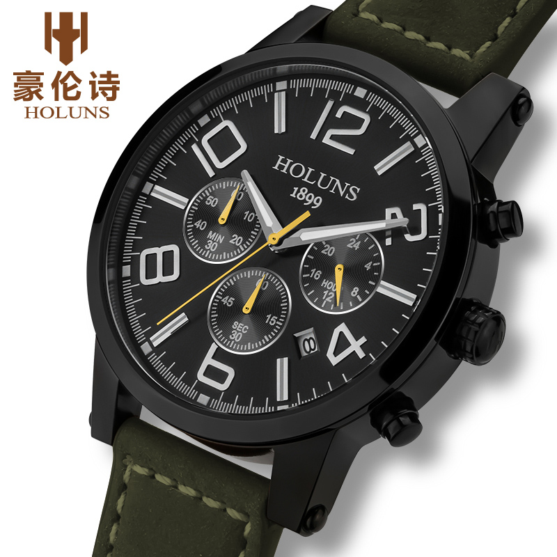 Large dial leather strap quartz men watches Fashion vintage watch waterproof multifunction man watches of the brands Holuns holuns watch women sapphire glass white dial quartz waterproof multicolor red leather strap watch