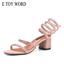 E TOY WORD 2019 New Summer Shoes Rhinestone snake-shaped winding Thick heel Roman sandals Women open toe high heel Sandals boots