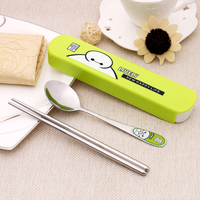 1 Set Free Shipping Portable Recyled Stailess Steel Cutlery Set Lovely Cartoon Spoon And Chopsticks Set