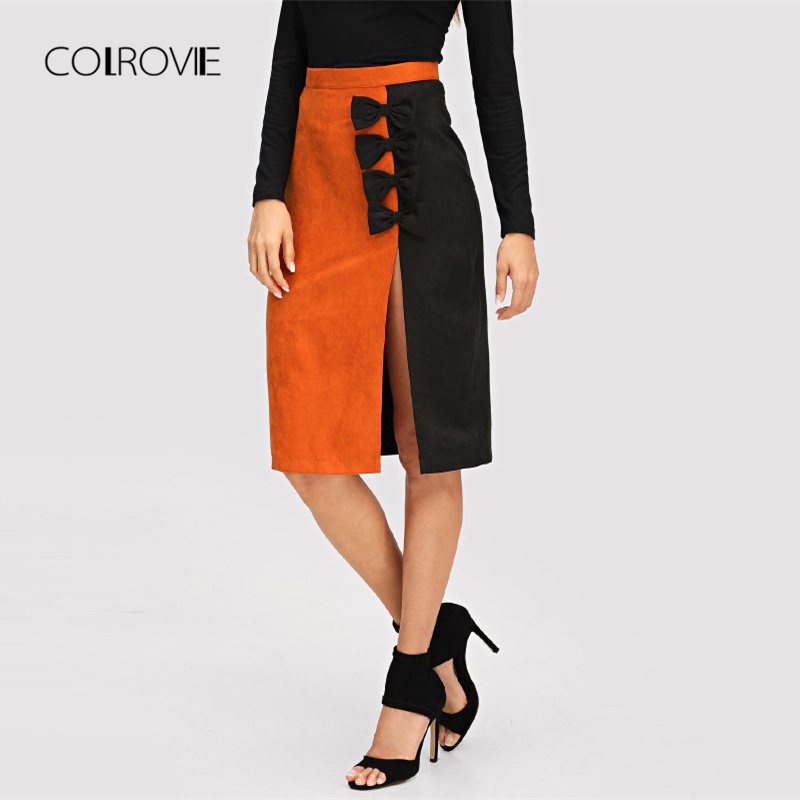 COLROVIE Bow Embellished Slit Keen Length Sexy Skirt