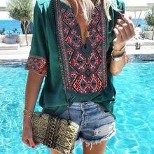 2019 Women Summer Tops Floral Print Shirt Ladies V-Neck Shor