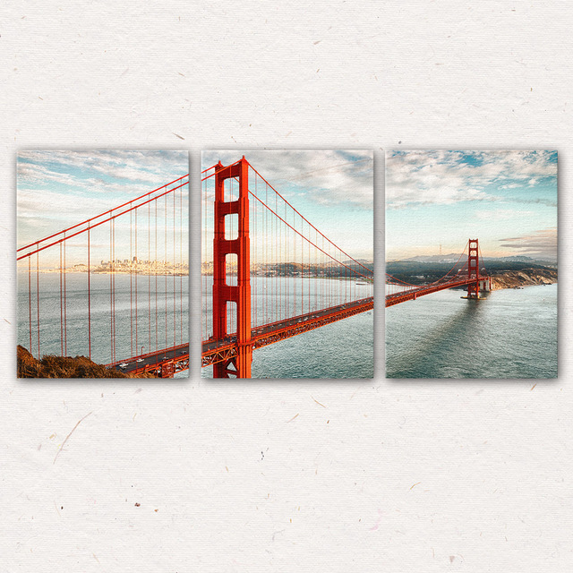Delightful 3Pcs/Set San Francisco Golden Gate Bridge Wall Art Painting Canvas Printed  Painting For Living