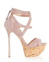 Nuovo stile in pelle scamosciata sottili sandali tacco alto piattaforma alta in legno suola open toe croce strap gladiatore scarpe da sera donna taglia 10