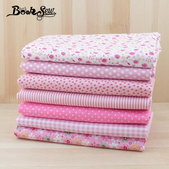 Booksew 7pcs 50cmx50cm Pink cotton fat quarter tilda doll tissue patchwork quilting fabric DIY cloth textile telas tulle tecidos