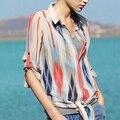 2015 Nuevas Mujeres de la Solapa de Manga Larga A Rayas Camisa de Las Mujeres OL Blusas