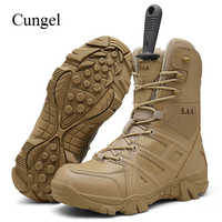 Cungel New Men Outdoor Army Combat boots Trekking Hiking shoes Military Tactical boots Desert Ankle boots Mountain Climbing