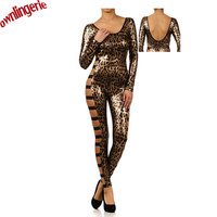 Sexy Free Shipping Leopard And Black Women Body Tights Vinyl Leather U Neck Bandage Club Wear