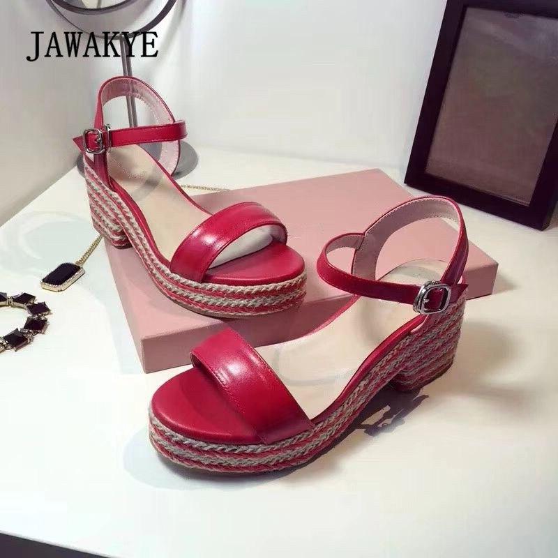 Здесь продается  2018 Hemp Platform Wedges Gladiator Sandals Women Open Toe Silver Black Red Pink Real Leather Thick Bottome Beach Shoes Woman   Обувь