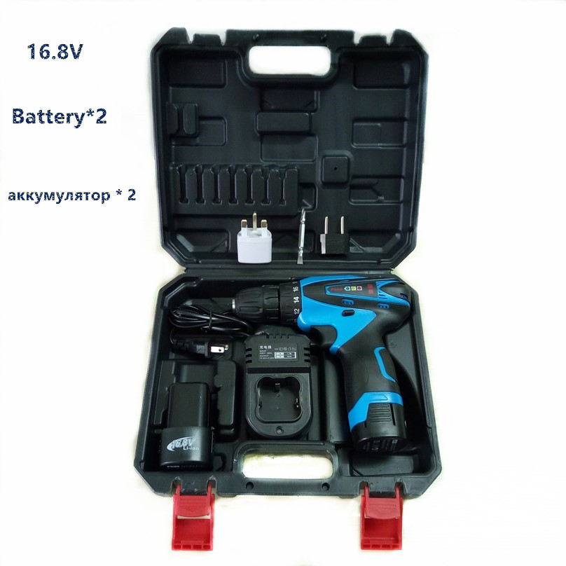 ФОТО MXITA 16.8v two speed Lithium Battery*2  Cordless Electric Drill wall wood Electric Screwdriver Power Tool with plastic case box