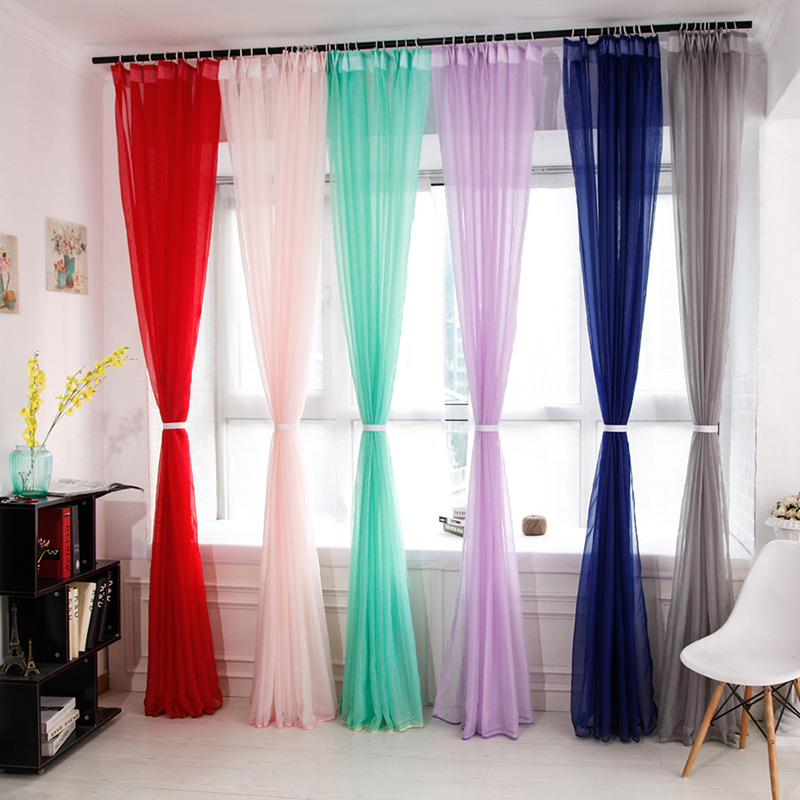 Multicolor sheer European and American style Solid Window gauze tulle curtains for living room balcony partition Processing cus