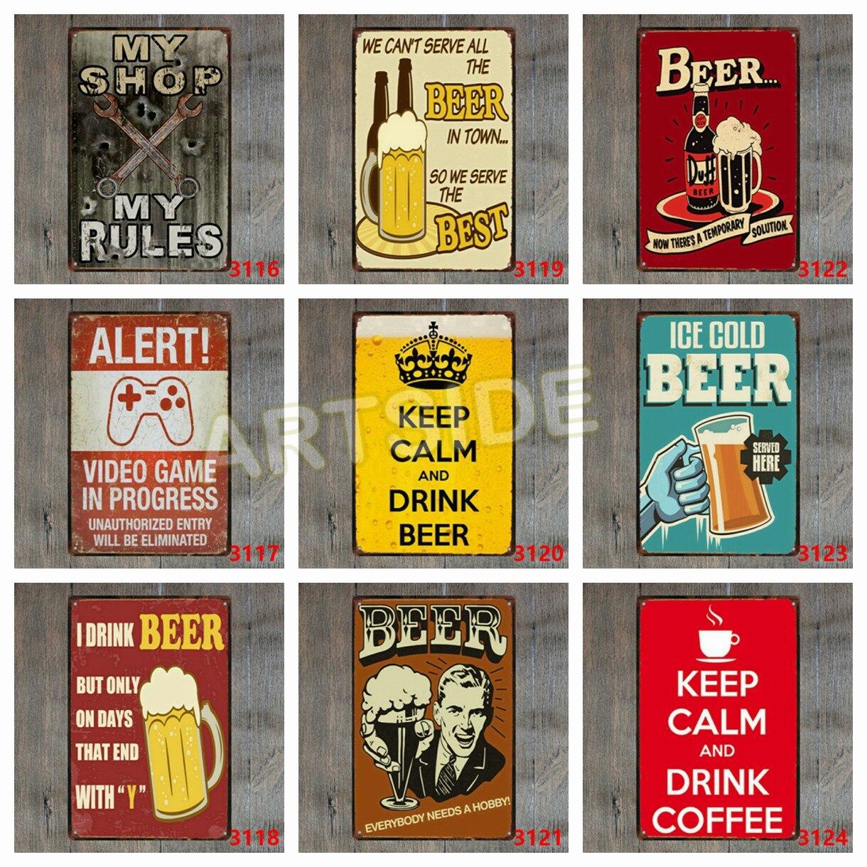 Ледяное Пиво служил здесь Винтаж металлическая банка знак плакат ретро Стиль доска