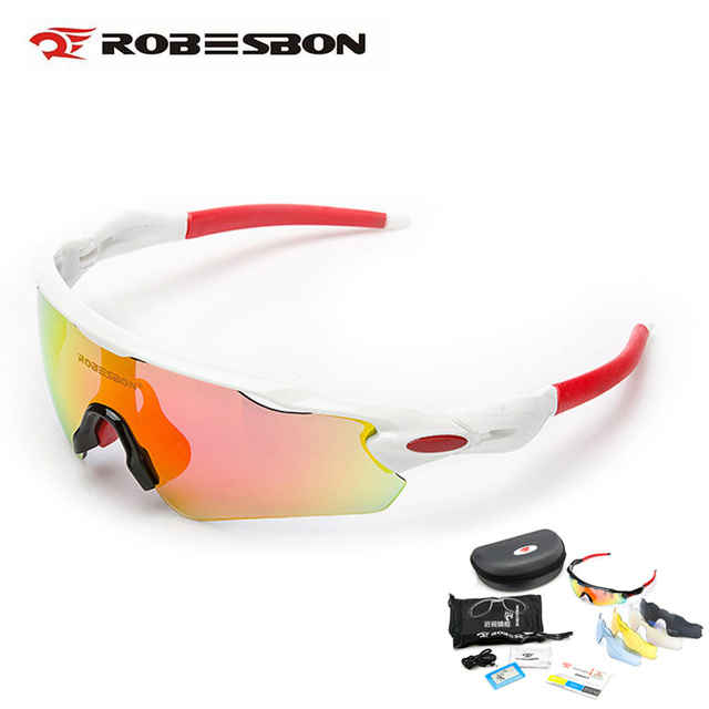9b8197befc ROBESBON Men Summer Sports Sunglasses UV400 Cycling Glasses Windproof  Polarized Bicycle Goggles Eyewear 5 Lens Las gafas