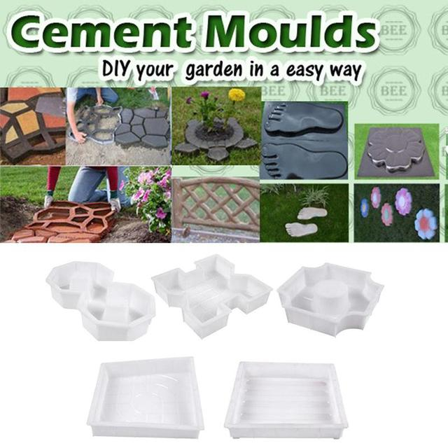 Square Garden Paths Concrete Plastic Colorful Brick Mold Stepping Stone  Maker