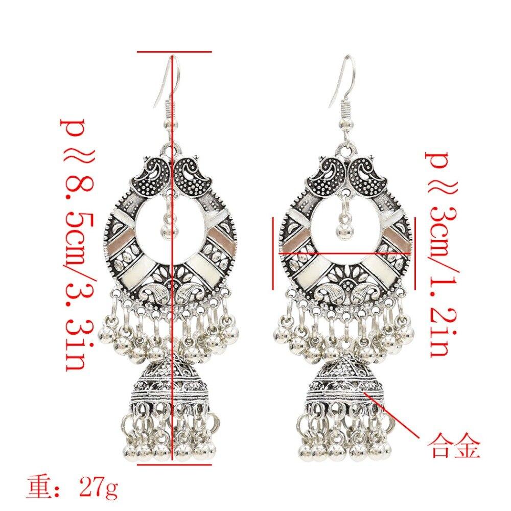 Traditional India Ethnic Silver Metal Drop Earrings For Women Afghan Gypsy Boho Long Tassel Jhumka Jhumki Statement oorbellen