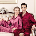 YIER Marcas Hombres Pijamas Pijamas Hombres 100% Seda Natural de Manga Larga Pijama Establece Hombres de Satén de Seda Pijamas de Las Mujeres ropa de Dormir pijamas