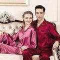 YIER Marcas Mens Pijama Homens 100% Seda Natural da Longo-Luva Pijamas Conjuntos Pijamas Dos Homens Pijamas De Seda De Cetim Mulheres Sleepwear pijama