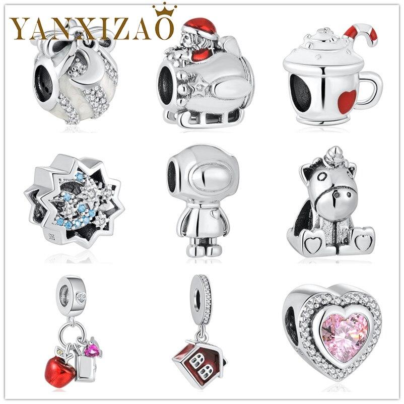 Yanxizao Рождественский подарок на Новый год яблоко Санта Клаус чашка Fit Pandora талисманы Серебро 925 оригинальные бусины для изготовления ювелирных изд